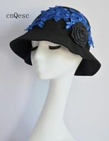 2019 Black royal blue Wool felt lace headpiece Kentucky Derby wedding races bridal shower mother of the bride w/lace flower.