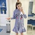 Женщины Лето Dress 2017 Модная Одежда Корейский Стиль Вышивки Птица Мини Рубашка Dress Аппликация Сетки Лоскутная Бальное платье Dress