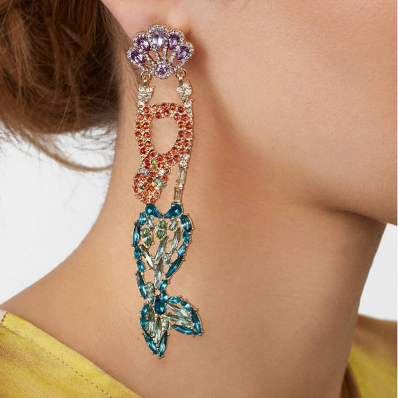 ZWPON Colorful Crystal Pave Mermaid Earrings 2019 Crystal Fish Earrings Jewelry Wholesale in Drop Earrings from Jewelry Accessories