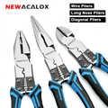 NEWACALOX 8'' Multitool Pliers Set Combination Pliers Wire Stripper/Crimper/Cutter Heavy Duty Pliers Diagonal Pliers Hand Tools