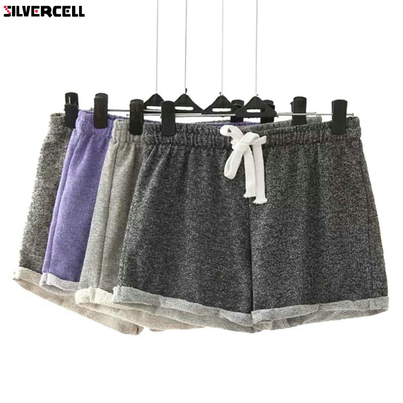 SILVERCELL Women Summer   Shorts   Elastic Waist Tunic Drawstring Beach Pocket Cuffs Casual Fitness workout Female   Shorts