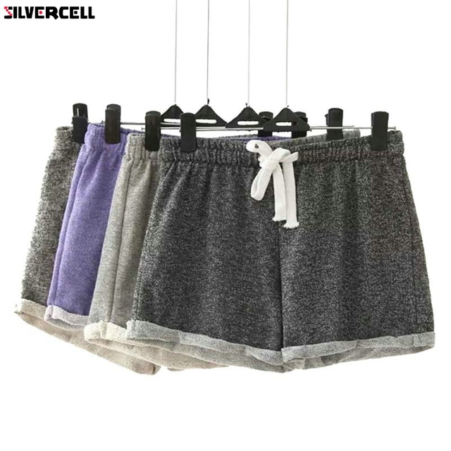 SILVERCELL Для женщин летние шорты эластичный пояс Туника шнурок пляжные карман манжеты Повседневное Фитнес тренировки женские шорты