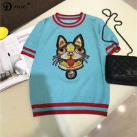 JOYDU 2018 New Runway Knit Summer Top Bling Cute tshirt Dog Embroidery Striped Vintage T shirts for Women Casual Female T shirt