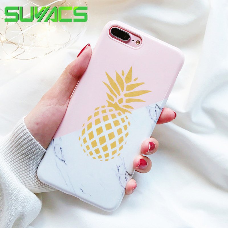 best service b1eaf a71fb US $1.79 10% OFF|SUYACS Smooth Gold Pineapple Marble Phone Case Shell For  iPhone 5 5S SE 6 6S 7 8 Plus X Soft TPU Silicon IMD Back Cover Coque-in ...