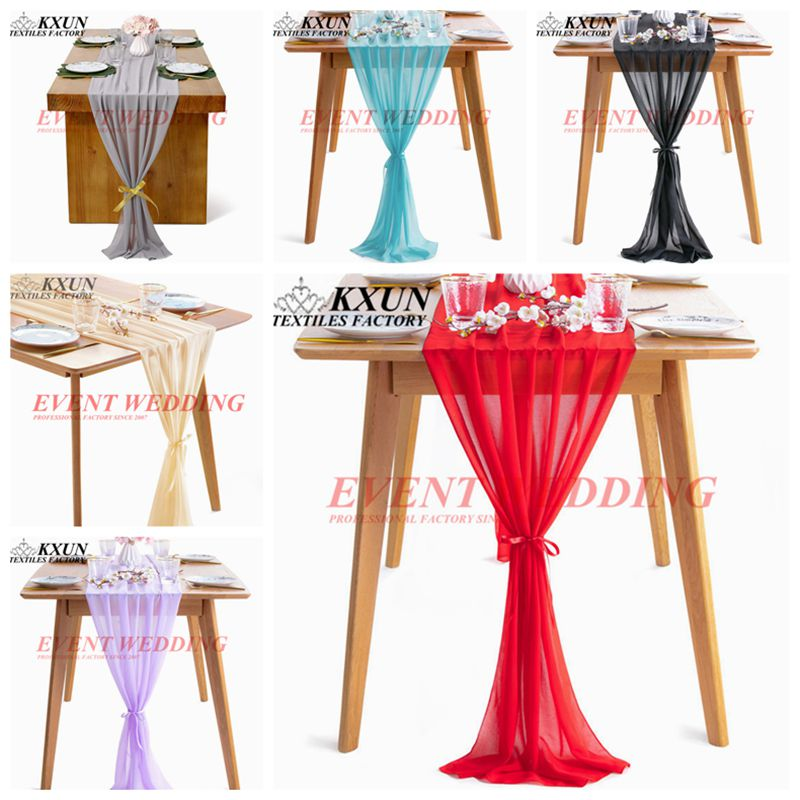 35x275cm Chiffon Table Cloth Runner Wedding Runners With Tie For Event Party Hotel Decoration