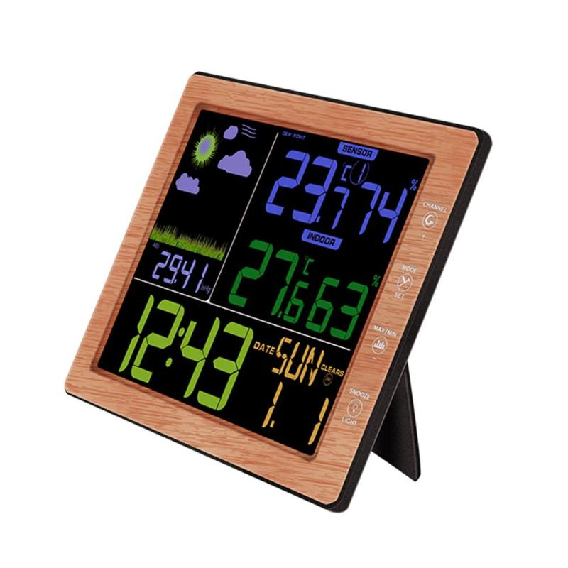 Wood Grain Multifuntions Weather Station Barometer Thermometer Hygrometer Wireless Sensor LCD Weather Forecast With Alarm Clock цена