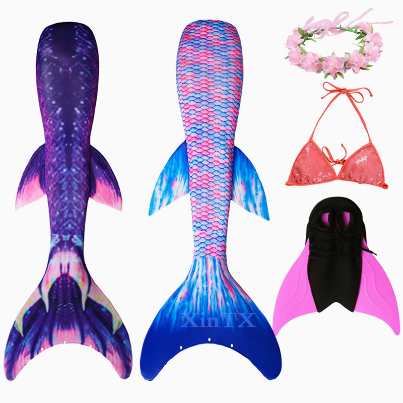 New Adult 4PCS/Set Mermaid Tails With Flipper Monofin Bathing Suit Dress For Swimsuit Cosplay Costume With Garland