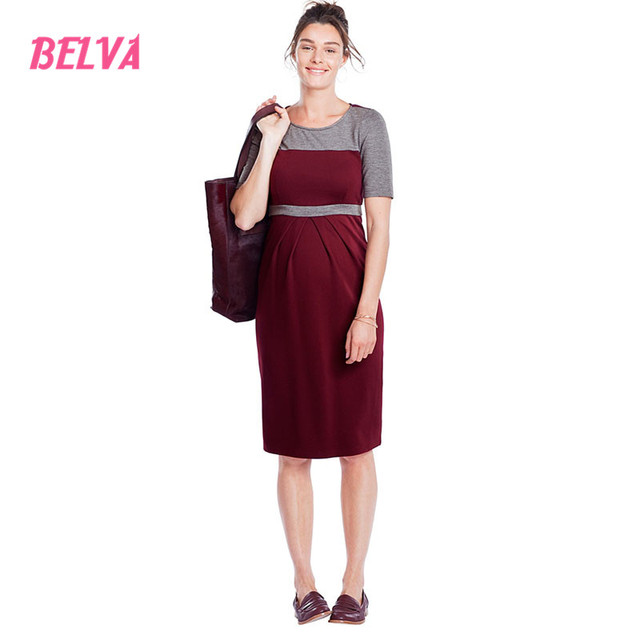 b101e0f9a74f7 Belva Maternity Clothes Ultra Soft Pregnancy Dresses Bamboo Fiber Casual  Office Dress Summer Fasion Simple Design Red BlackDR230