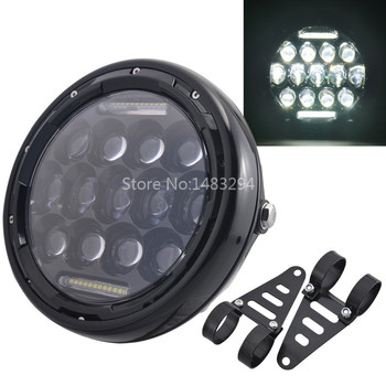 7.5 Inch Universal Motorcycle LED Round Headlight DRL HIGH/LOW Beam Headlamp With Mount Brackets Black Cover Clear Lens