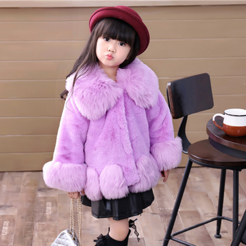 JKP Children's clothing 2018 winter new girl big Outerwear fashion Jackets Cotton thickening imitation fur coat Faux Fur CT-31 tnlnzhyn women s clothing cotton coat winter new fashion big yards hooded fur collar thickening female cotton outerwear wu21
