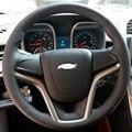 Caso para Chevrolet Malibu tampa da roda de direcção de couro Genuíno de costura de mão DIY Anti-sliip estilo Do Carro tampa da roda