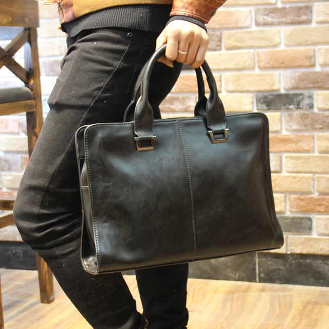 Crazy horse leather Men's Briefcase men messenger bags Business ...