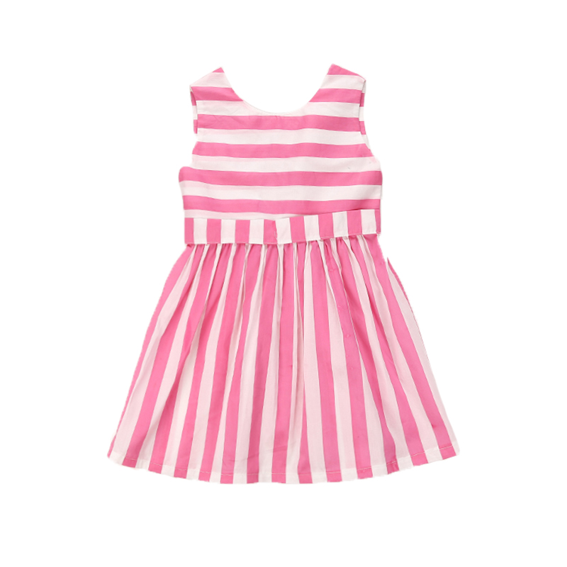 Children Girls Dress Infant Baby Girls Princess Party Dress Bowknot Striped A-Line Sleeveless Summer Girls Dress For 3-8Y Kids 2017 baby girls dress summer cherry print a line sleeveless princess dresses kids cotton party dress children clothes for 3 11y