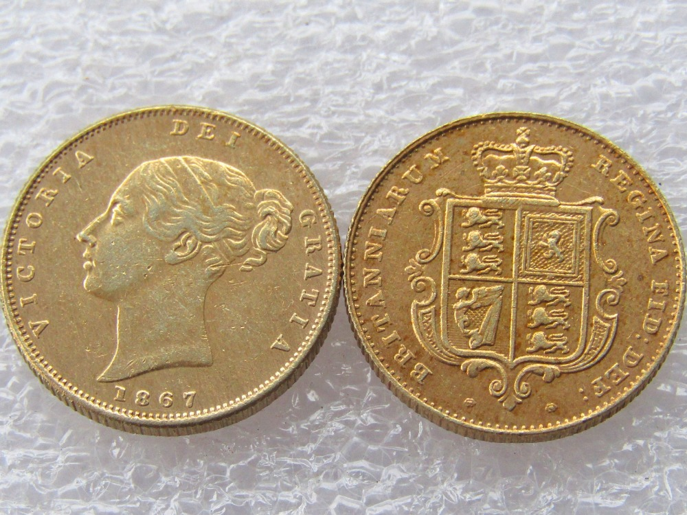 1867 Queen Victoria Young Head Gold Coin Very Rare Half Sovereign Die Copy  Coins Free Shipping