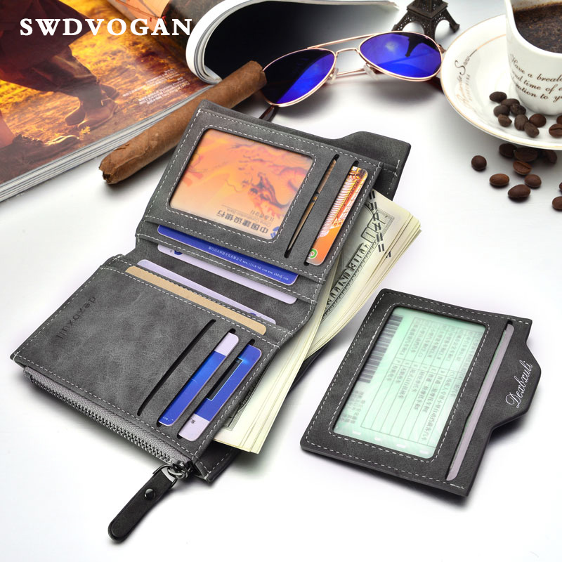 Drivers License Wallet Male Purse For Men Vintage Zipper Coin Purses Wallet Men's Purses Wallets Card Holders Carteira Masculina baellerry small mens wallets vintage dull polish short dollar price male cards purse mini leather men wallet carteira masculina