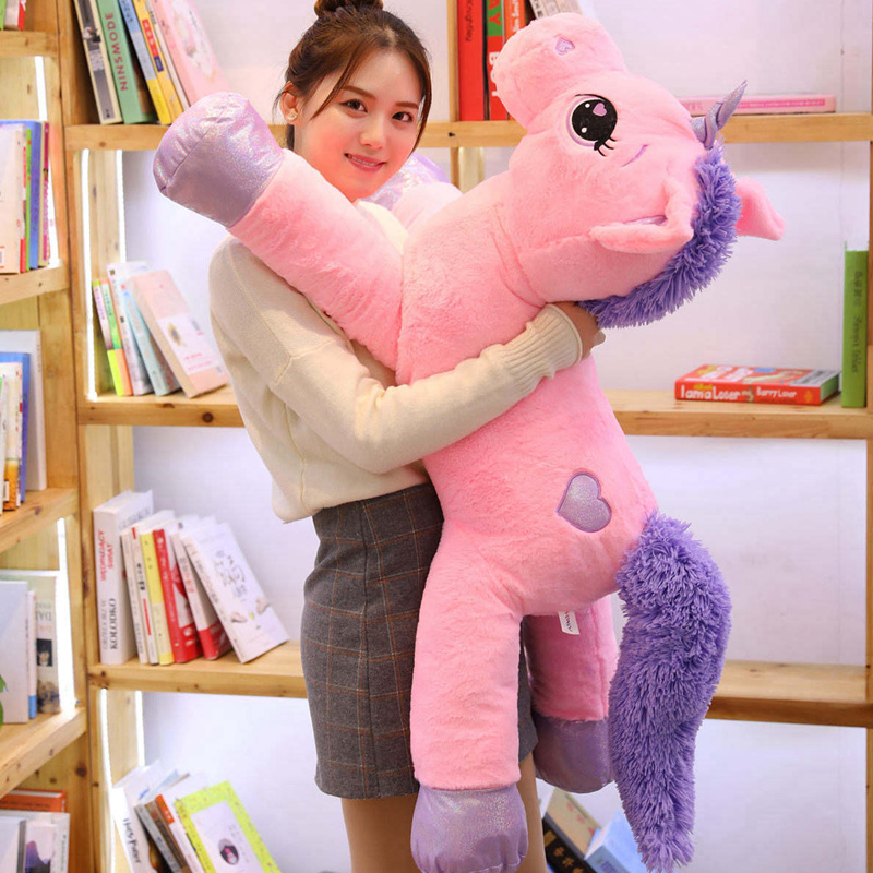 60-110cm Giant Size Unicorn Plush Toys Cute Pink White Horse Soft Doll Stuffed Animal Large Toys For Children Girl Birthday Gift