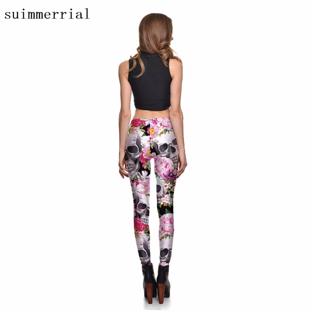 new floral skull printed leggings women autumn causal pattern
