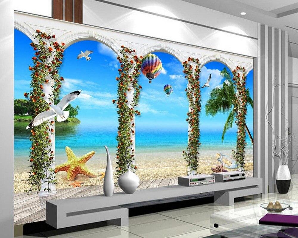 Roman Column Seaview 3d Wallpaper Nature Landscape Wallpaper Murals Custom Photo Wallpaper 3d Stereoscopic China