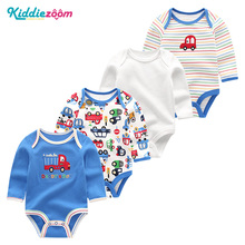 2019 4 PCS/lot Unisex Baby Boys Girls Clothes Winter Clothing Summer Baby Rompers Cotton Baby Jumpsuit Full Sleeve Roupa de bebe