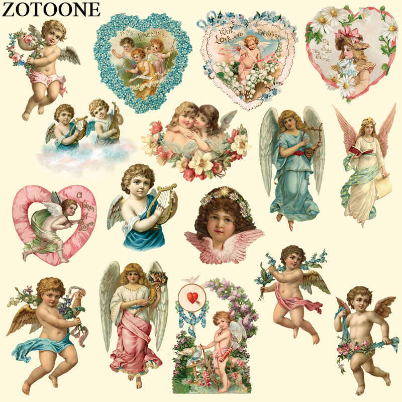 ZOTOONE Angel Patch Iron On Transfers for Clothing T-shirt Dress DIY Angle Girl Decoration Heat Transfer Stickers For Clothes C