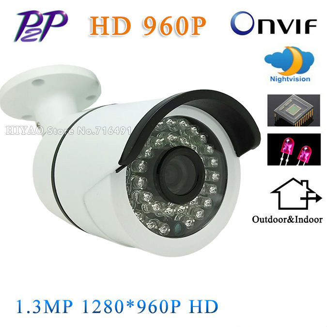 NEW Original Aluminum Metal Waterproof Outdoor Bullet IP Camera 720P 960P Security Camera CCTV 36PCS LED ONVIF Camera IP wistino xmeye bullet ip camera outdoor metal waterproof surveillance security cctv camera monitor onvif hd 720p 960p 1080p