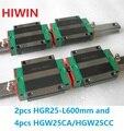 2 шт. 100% оригинальный Hiwin линейный рельс HGR25-L 600 мм + 4 шт. HGW25CA HGW25CC фланец перевозки для ЧПУ маршрутизатор