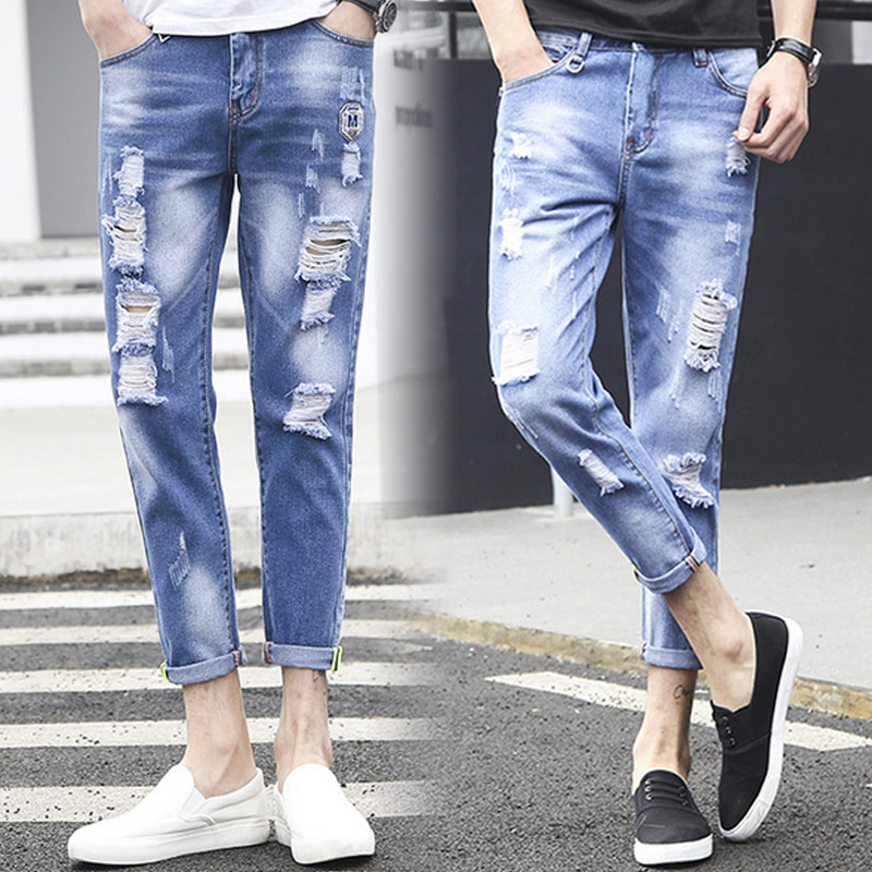 Fashion Men Jeans Washed Ripped Pants Casual Street Style Holes Denim Pencil Pants Long Trousers  JL women jeans autumn new fashion high waisted boyfriend street style roll up bottom casual denim long pants sp2096