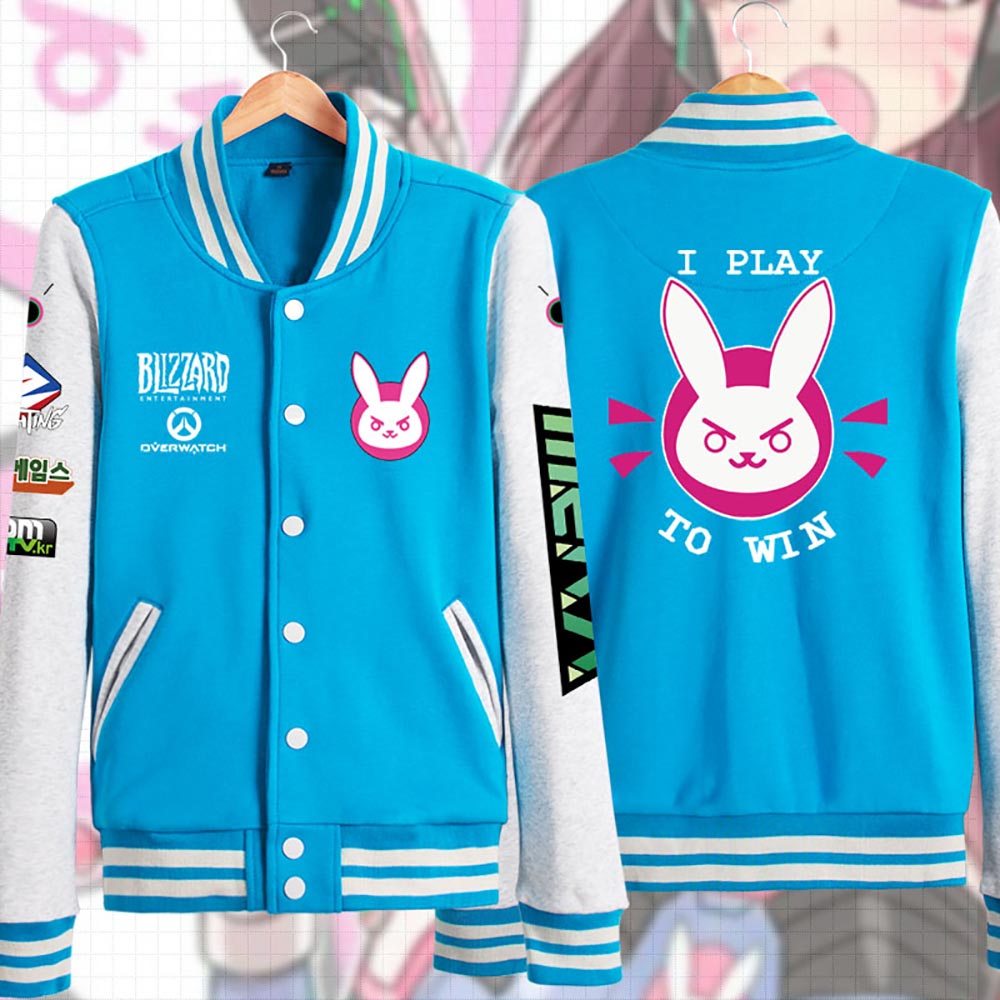 D.VA Baseball Jersey OW Jacket Video Game Tank Mecha Pilot Hana Song Hoodie Sweatshirts Casual Wear Adult Women Plus Size
