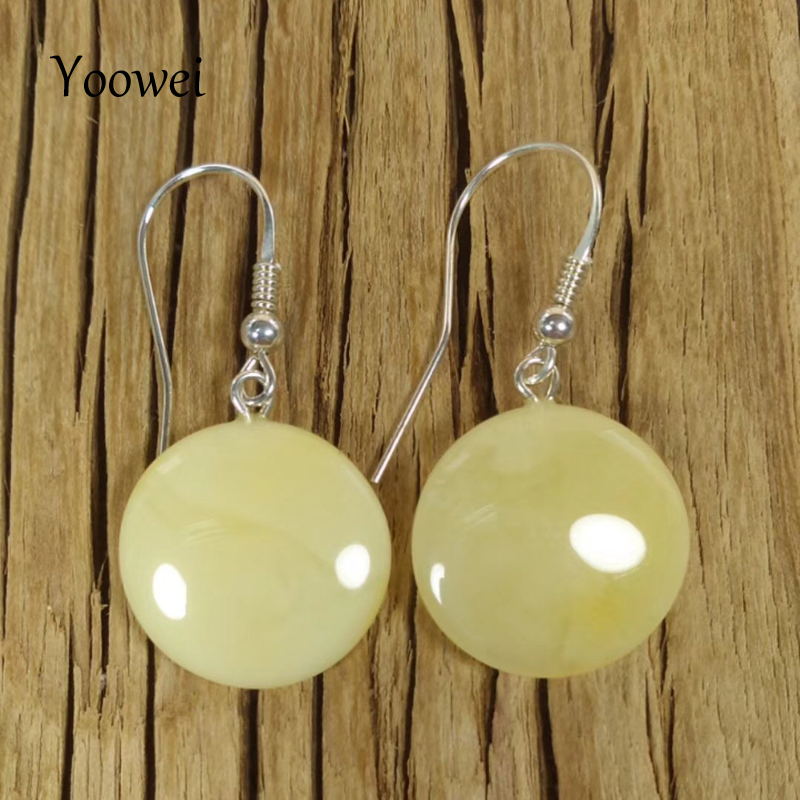 Yoowei 2018 New Natural 18*5mm Amber Earrings for Women S925 Silver Dangling Earrings Female Gift Baltic Amber Jewelry Wholesale genuine natural baltic beeswax earrings amber beeswax pure silver earrings earrings female female 925 silver jewelry de005