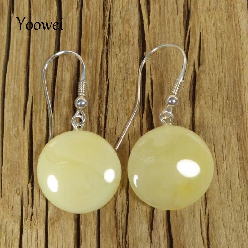 Yoowei 2019 nouveau naturel 18*5mm ambre boucles d'oreilles pour les femmes S925 argent boucles d'oreilles pendantes femme cadeau baltique ambre bijoux en gros