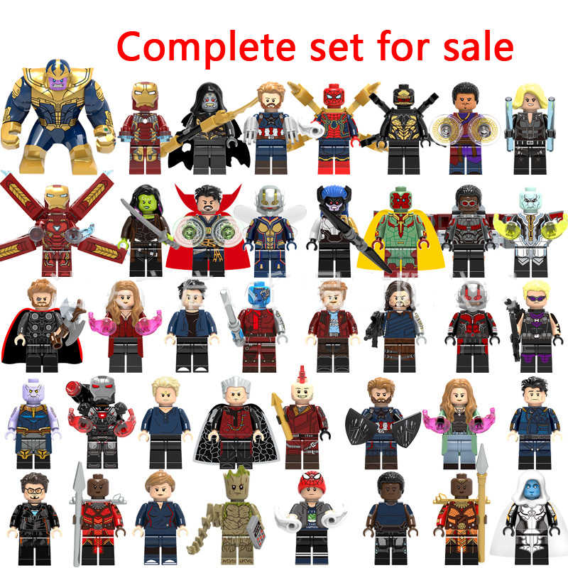 Legoingly marvel super heróis vingadores capitão infinito guerra da galáxia homem de ferro aranha thor hulk pantera negra thanos brinquedos tijolos