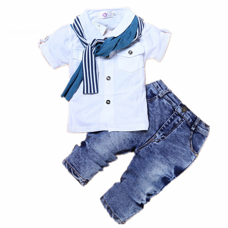2018 Baby Boy Clothes Cotton Baby Clothes T-shirt+Jeans Trousers+Scarf Winter Children Clothing Suit Tracksuit for 2-7T Toddlers 2pcs children outfit clothes kids baby girl off shoulder cotton ruffled sleeve tops striped t shirt blue denim jeans sunsuit set