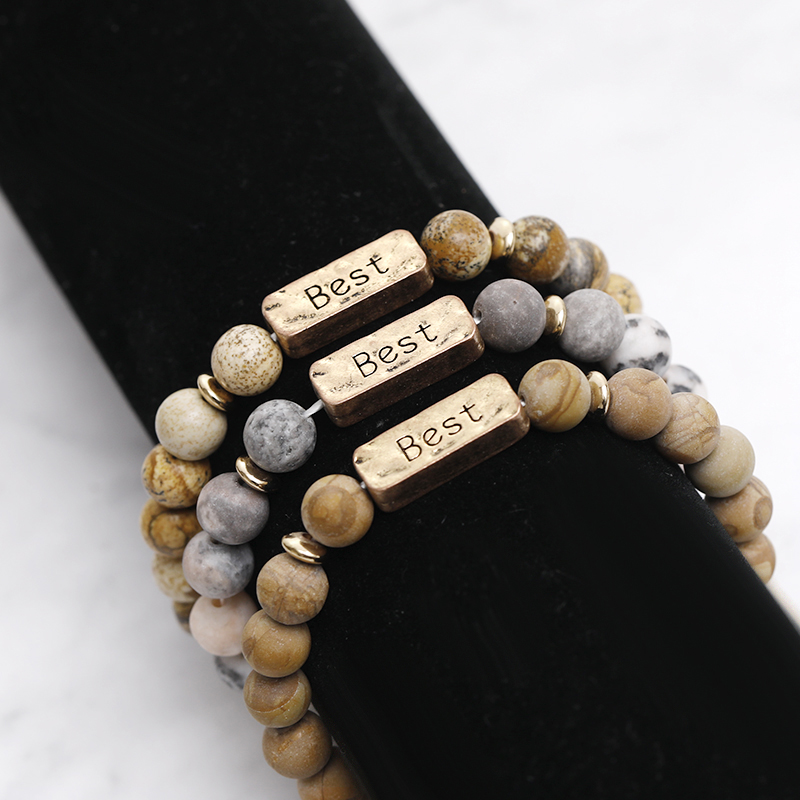 Zhijia Handmade beads blessed bracelets Turquoises Stone quot Best quot bracelet for women men Distance lucky bracelets Jewelry in Strand Bracelets from Jewelry amp Accessories