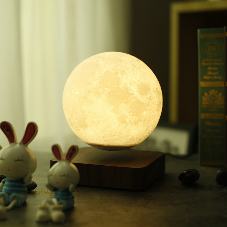 Maglev LED moon night light 3d Printing Lunar lamp Creative Birthday Gift Romantic Valentine's Day Magnetic levitation rotation