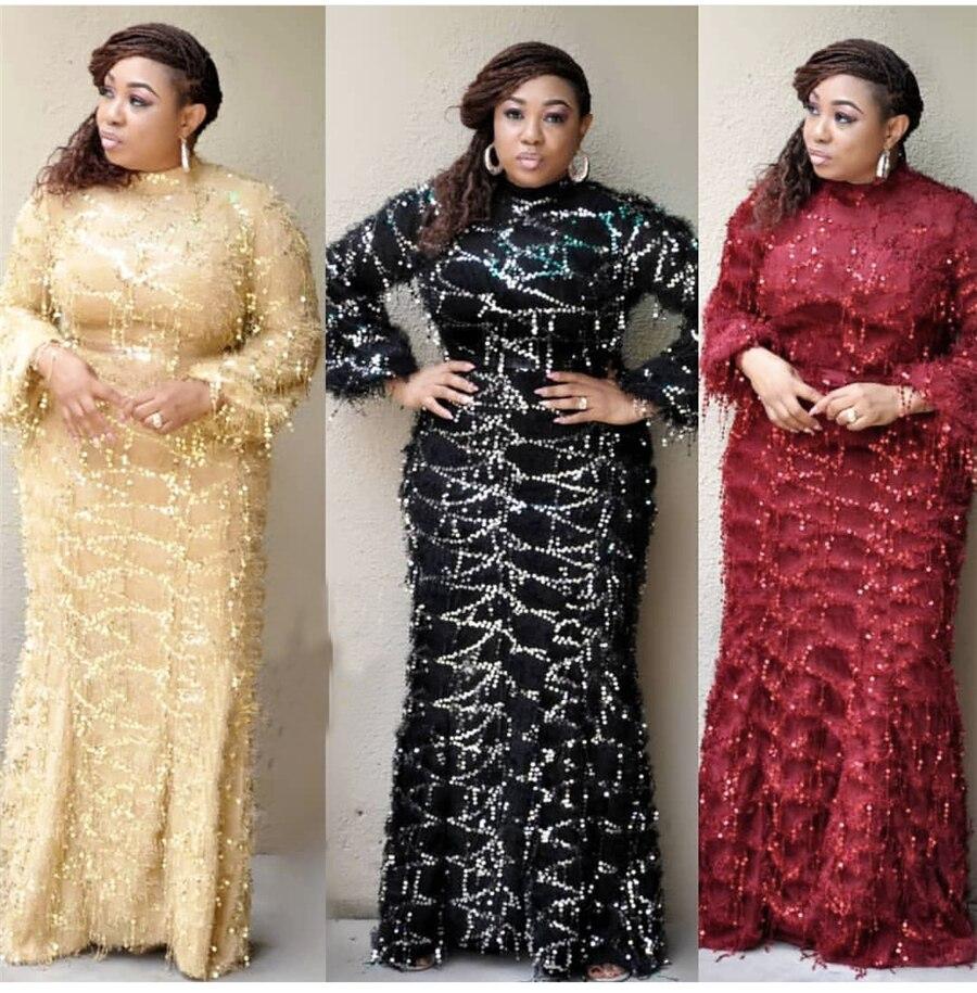 GuyuEra African European Fur Tassel Sequined High Collar Long Sleeve Mini Dress Fishtail Dress