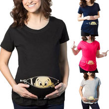 39fccdbd742 (Ship from US) Womens Fashion T-Shirts Baby Print Maternity Shirt Cotton Funny  Maternity Shirts Gravida Top Pregnancy Clothing Tees Casual