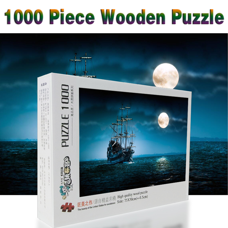 The Moon Sailing 1000 Pieces Adult Puzzle Wooden Puzzle Cartoon Jigsaw Puzzles For Children Educational Toys Gifts