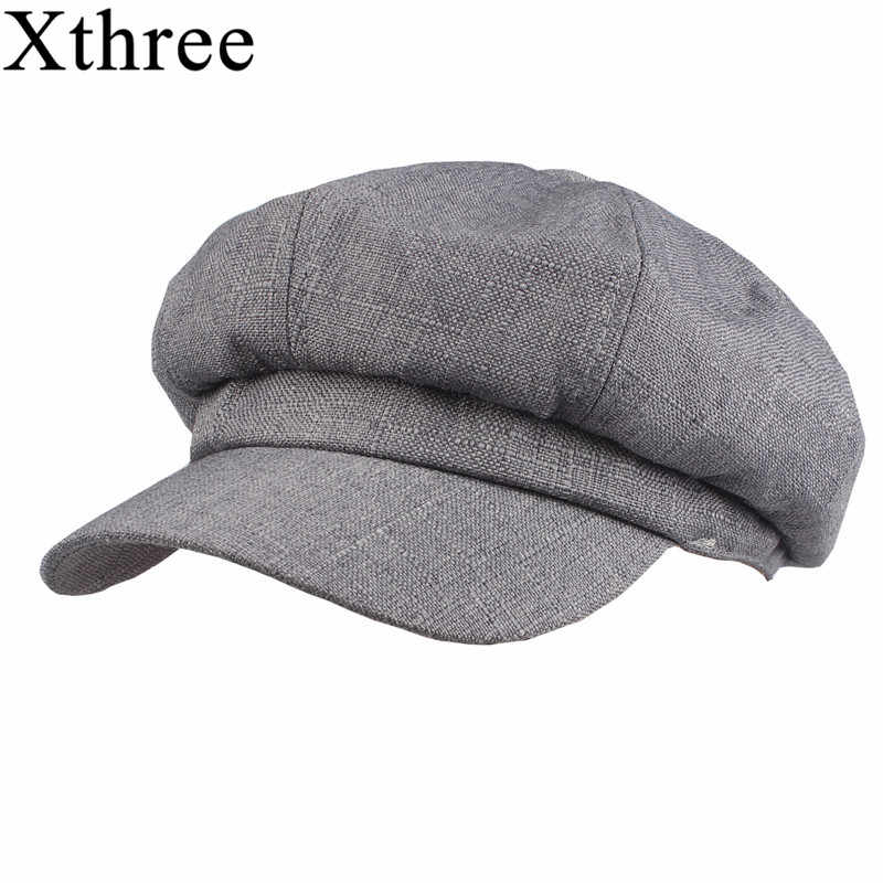 654964fcd37 Xthree Fashion solid cotton lined Newsboy Caps for Women Spring Summer Hats  Felt Cap Winter Ladies