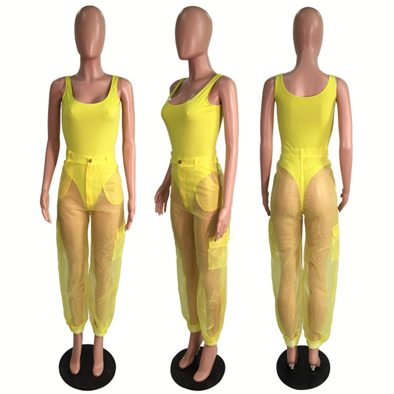 HTB1hmRZXkP2gK0jSZPxq6ycQpXaa - ANJAMANOR Sexy Two Piece Set Bodysuit Top and Mesh Pants Neon Pink Green Summer 2 Piece Club Outfits Matching Sets D59-AB72