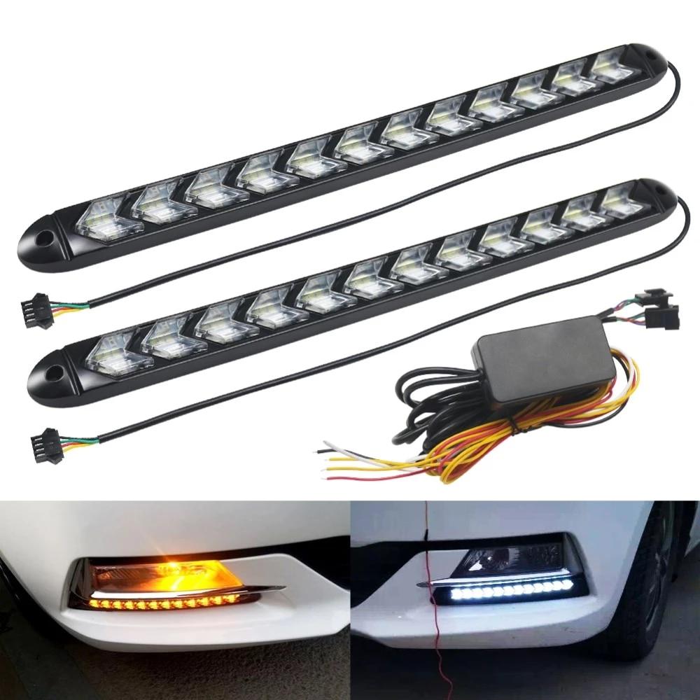 2x Car Flexible DRL White//Amber 216LED Rider Light Strip Headlight Arrow Flasher