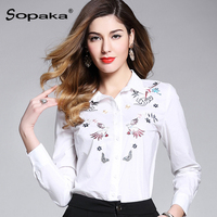 2018 Spring Floral Bird White Flower Embroidery Sweet Women Shirt Sleeve Turn Down Collar Casual Woman