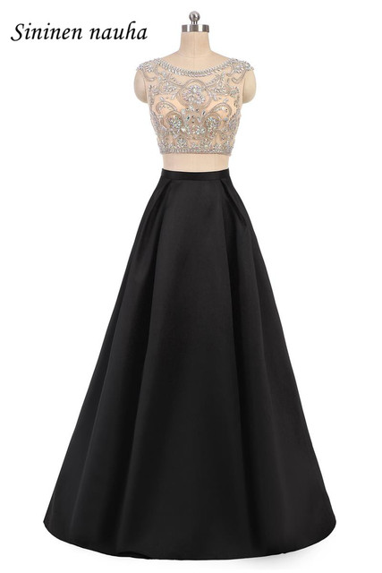 5c76cbd02edbd Black 2 Piece Long Prom Party Dress Homecoming Dresses Beaded Top Crystals  A Line Plus Size Juniors Vestidos De Festa Longo 76