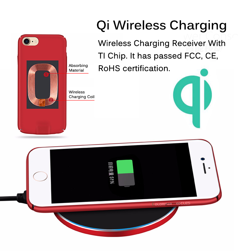 Image 3 - Qi Wireless Charger Receiver Case For iPhone 7 7 Plus 2 In 1 Wireless Charging & Cable Charging Cover For iPhone 6 6s Plus Cases-in Fitted Cases from Cellphones & Telecommunications