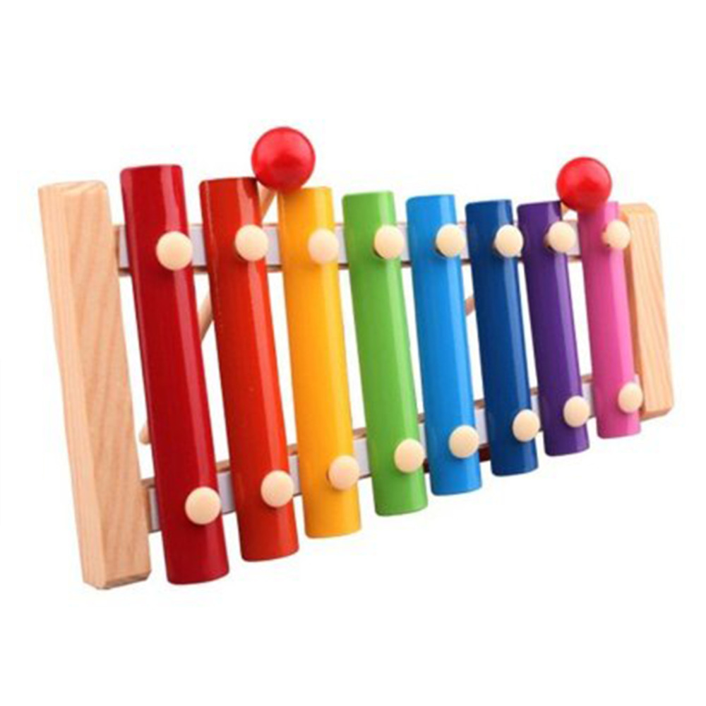 Wooden Xylophone, 8 Notes Wooden Colorful Hand Knock