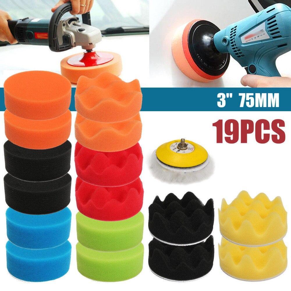 High Quality 18PCS 3inch 80mm Sponge Buff Buffing Polishing Pad Kit For Car Polisher 5/16 Thread
