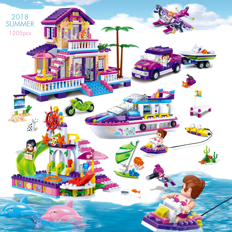 Pandadomik Super Large Summer Beach 1205Pcs Building Bricks Blocks Friends Designer Stickers Constructor Legoings Toys for Girls отвертка cimco 117133 неизолированнаяс жалом ph3 150мм