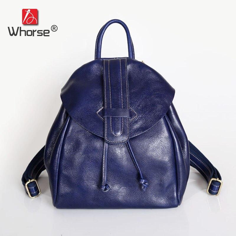 Vintage Casual String Top Cowhide Womens Waterproof 12 Backpack Genuine Leather Daypack Backpacks Back Pack For Women W092668