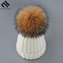 Evrfelan New Brand Winter Hat Real Fox Fur Winter Hat For Women Pom Poms Warm Hat Girl 's Wool Warm Cap Fashion Knitted Beanies