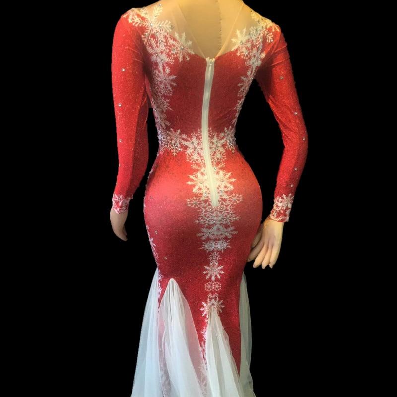Soirée Robe Noël Fête Mode De Strass Christia Costumes Bella Maille Longueur Scène Rouge parole Chanteur Fuite Femmes wf0tBvtq