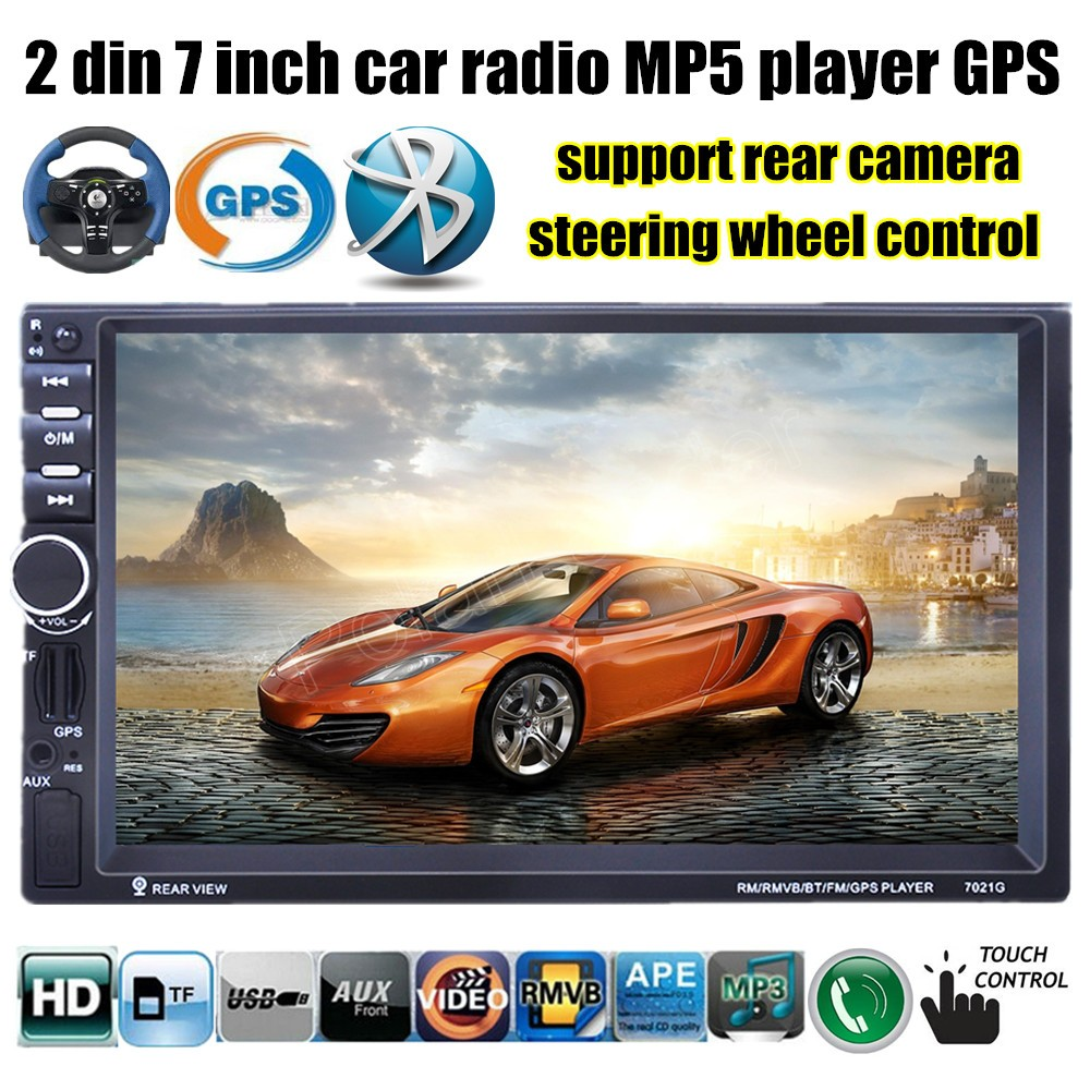 Car radio 2 din 7 Inch Bluetooth video Stereo MP4 MP5 Player USB TF FM 8G map card optional support rear camera GPS navigation 2 din support rear camera car bluetooth gps 7 inch radio touch screen stereo mp4 mp5 player usb 8g map card selection